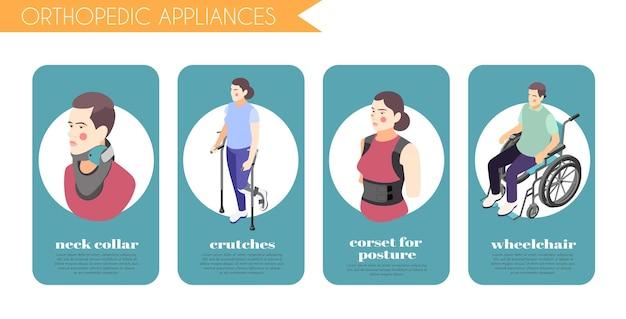 Ilustración isométrica de aparatos ortopédicos