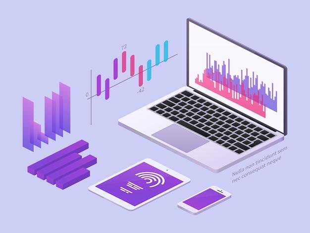 Ilustración isométrica de la aplicación empresarial