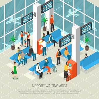 Ilustración isométrica del área de espera del aeropuerto