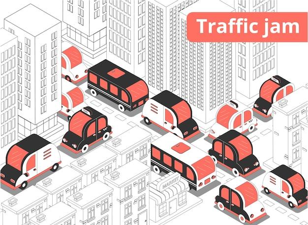 Ilustración isométrica de atasco de tráfico