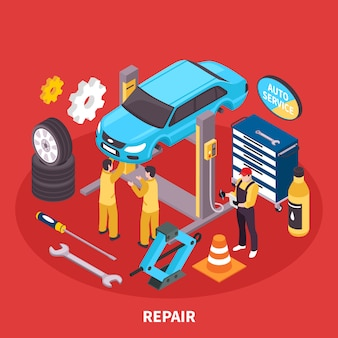 Ilustración isométrica de auto servicio