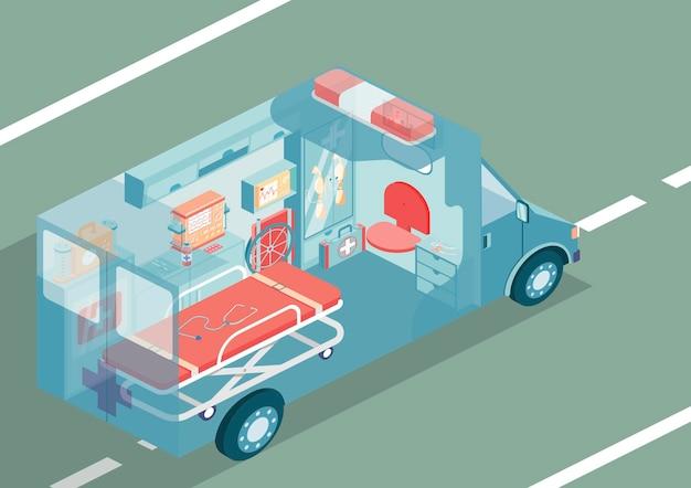 Ilustración isométrica del automóvil de ambulancia con equipo médico especial