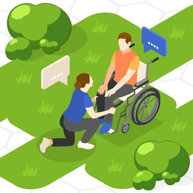 Ilustración isométrica de ayuda mutua
