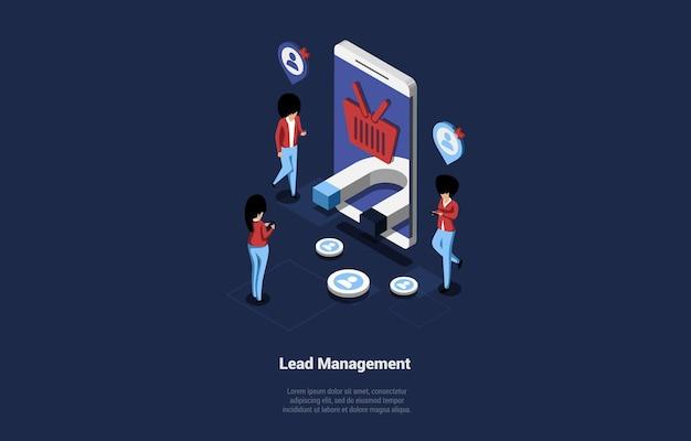 Ilustración isométrica en azul oscuro del diseño de concepto de gestión de clientes potenciales