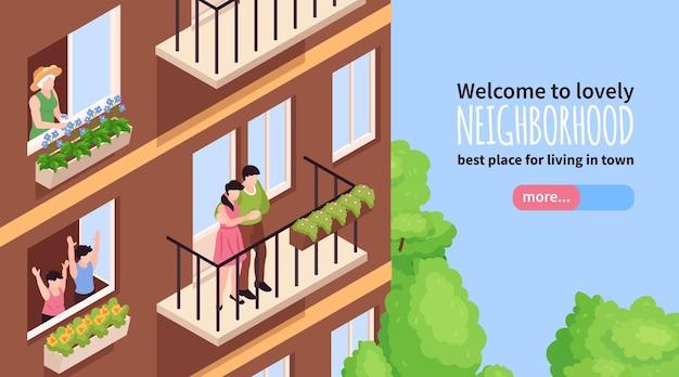 Ilustración isométrica de banner de vecinos