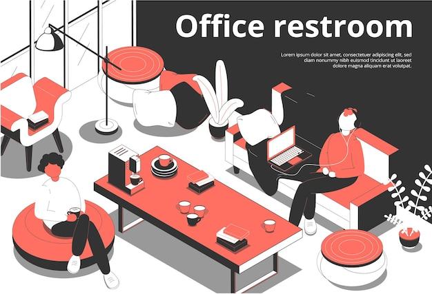 Ilustración isométrica de baño de oficina