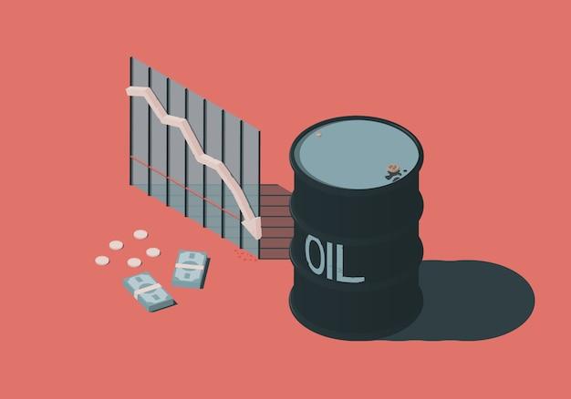 Ilustración isométrica con barril, dinero y diagrama sobre el tema de la caída de los precios del petróleo.