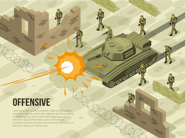 Ilustración isométrica de batalla militar