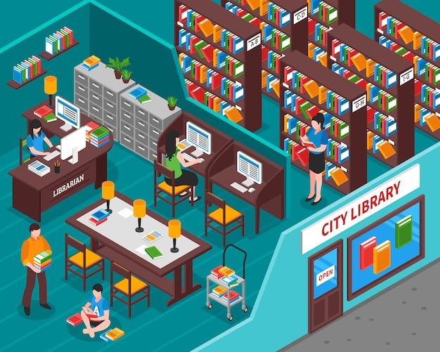 Ilustración isométrica de la biblioteca de la ciudad