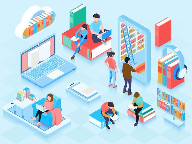 Ilustración isométrica de la biblioteca en línea