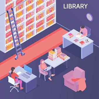 Ilustración isométrica de la biblioteca