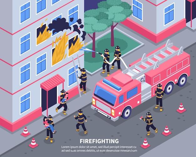 Ilustración isométrica de bombero