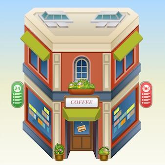 Ilustración isométrica de cafetería