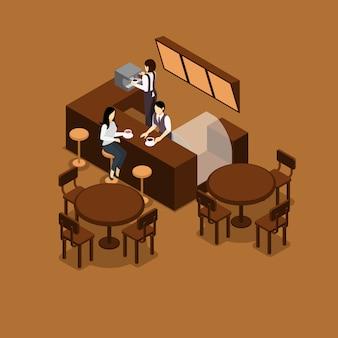 Ilustración isométrica de camarera