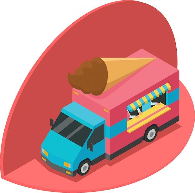 Ilustración isométrica de camión de helados