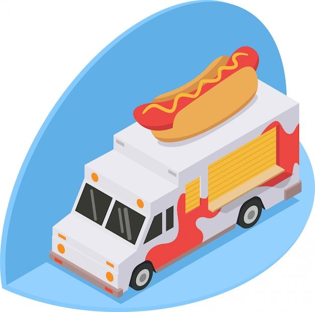 Ilustración isométrica del camión hotdog