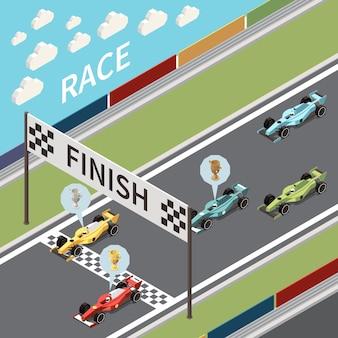 Ilustración isométrica de carrera de autos con vista de la pista de asfalto y autos que cruzan la línea de meta