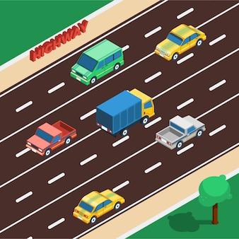 Ilustración isométrica de la carretera