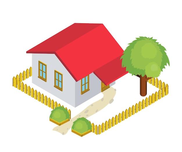 Ilustración isométrica de la casa de campo