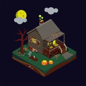 Ilustración isométrica de la casa embrujada de halloween