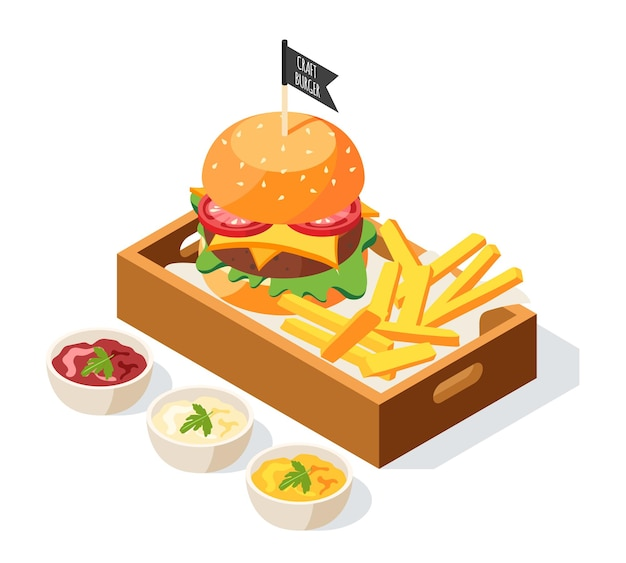 Ilustración isométrica de la casa de hamburguesas con composición de platos de salsa y hamburguesa servida con papas fritas en un plato