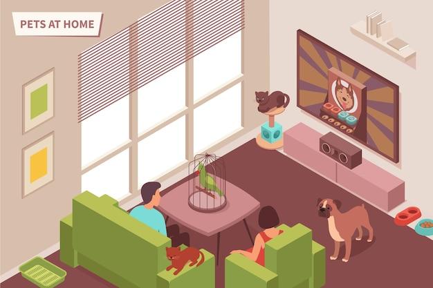 Ilustración isométrica de casa de mascotas