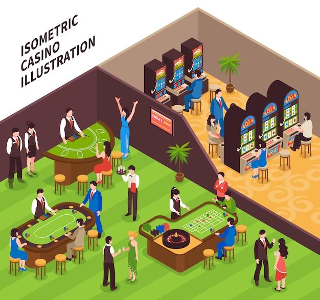 Ilustración isométrica del casino