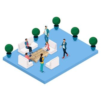 Ilustración isométrica del centro de coworking