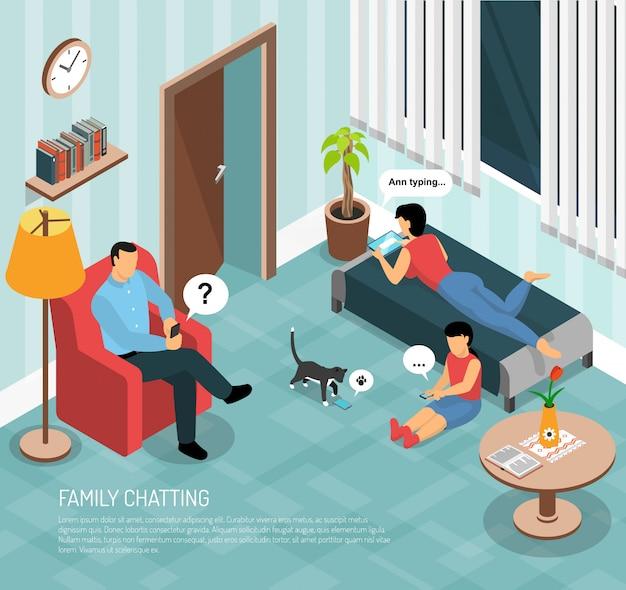 Ilustración isométrica de chat en casa familiar