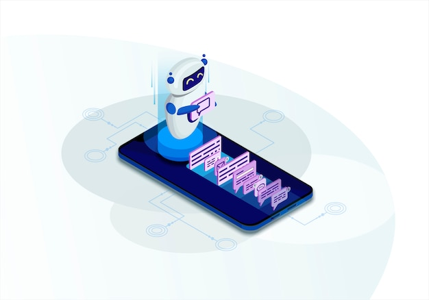 Ilustración isométrica de chatbot