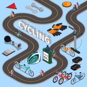 Ilustración isométrica de ciclismo