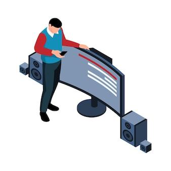 Ilustración isométrica con cine en casa y personaje con control remoto 3d