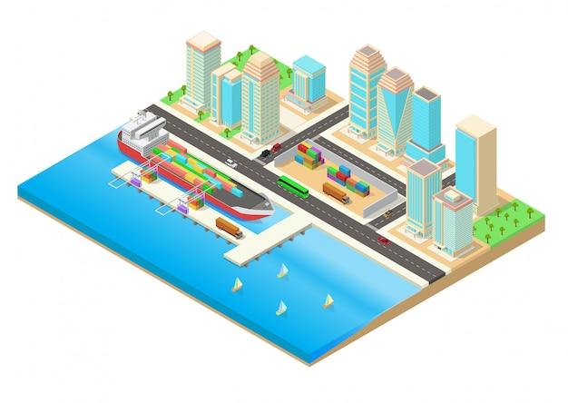 Ilustración isométrica de una ciudad al lado del mar y el puerto