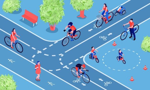 Ilustración isométrica de la ciudad amigable con la bicicleta