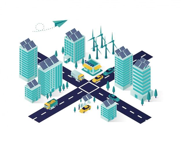 Ilustración isométrica de la ciudad de energía del panel solar