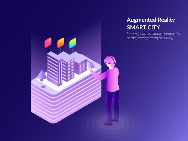 Ilustración isométrica de ciudad inteligente en la pantalla del teléfono inteligente.