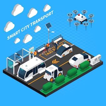 Ilustración isométrica de ciudad inteligente con símbolos de transporte y punto de taxi