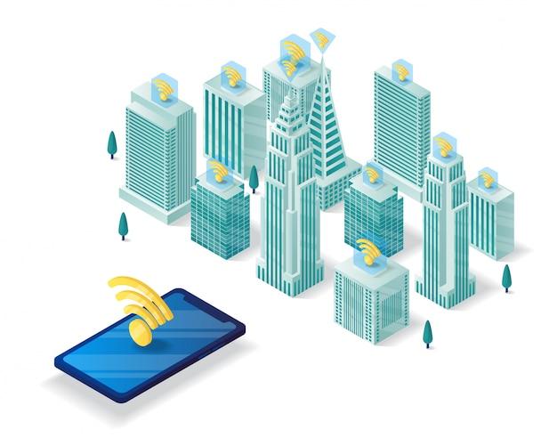 Ilustración isométrica de ciudad inteligente