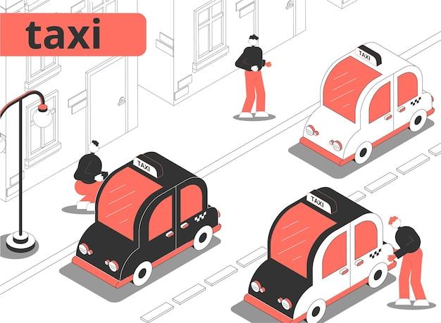 Ilustración isométrica de la ciudad de taxi
