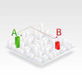 Ilustración isométrica de la ciudad.