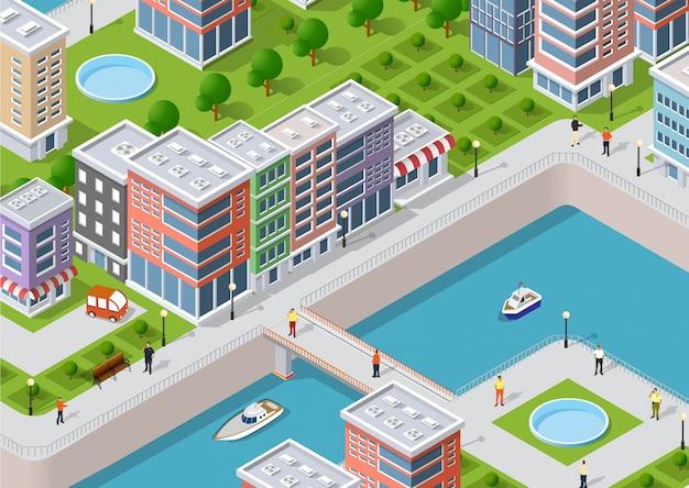 Ilustración isométrica de una ciudad