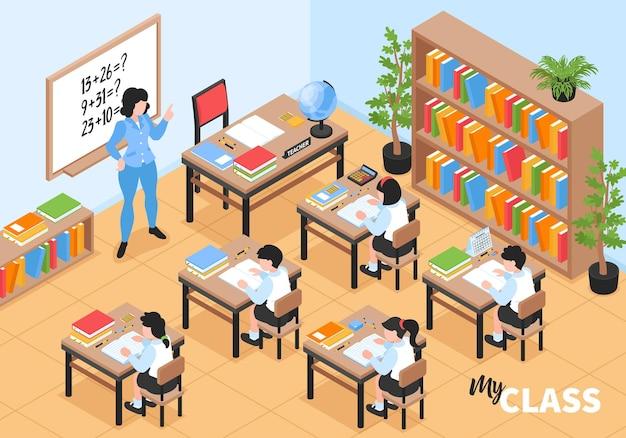 Ilustración isométrica de la clase de la escuela primaria secundaria