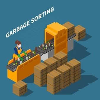 Ilustración isométrica de clasificación de basura