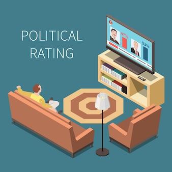Ilustración isométrica de clasificación política con el hombre en el interior de una casa viendo la televisión con competidores políticos en la pantalla