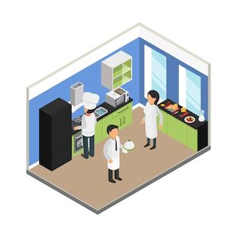 Ilustración isométrica de la cocina del restaurante