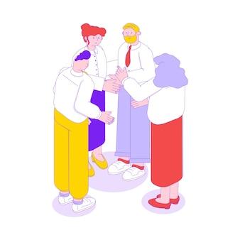 Ilustración isométrica de colaboración de trabajo en equipo empresarial con cuatro trabajadores de oficina parados juntos