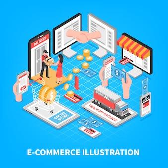 Ilustración isométrica de comercio electrónico
