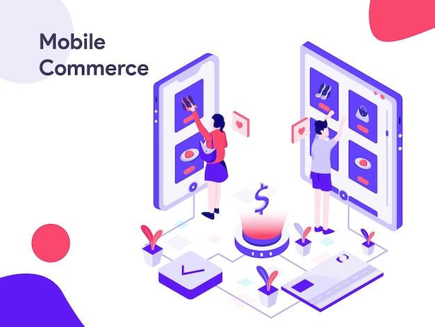 Ilustración isométrica de comercio móvil