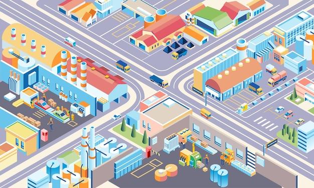 Ilustración isométrica de un complejo industrial muy grande con muchas personas y camiones.