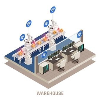 Ilustración isométrica completamente automatizada del almacén moderno